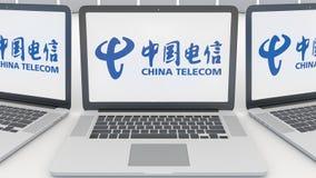 Laptopy z China Telecom logem na ekranie Informatyka artykułu wstępnego 3D konceptualny rendering Obrazy Royalty Free