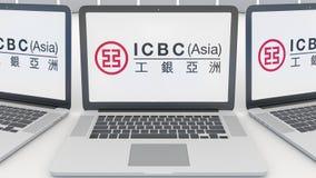 Laptopy z Przemysłowym i Commercial Bank Porcelanowy ICBC logo na ekranie Informatyka konceptualny artykuł wstępny Zdjęcia Stock