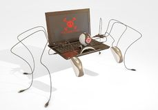 Malware found. Laptorp becoming alive because of a malware, 3d rendering Stock Photos