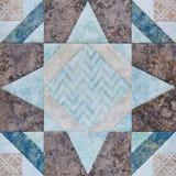 Lapwerk geometrisch blok van stukken stoffen, detail van dekbed Stock Afbeelding
