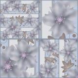 Lapwerk naadloos grijs retro patroon met bloemen Stock Afbeeldingen
