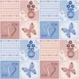 Lapwerk naadloos patroon met bloemen in vaas, harten en uiteinde Royalty-vrije Stock Afbeeldingen
