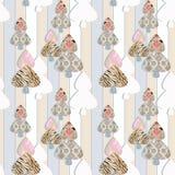 Lapwerk naadloos patroon met harten en elementenachtergrond Royalty-vrije Stock Fotografie