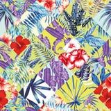 Lapwerk tropisch rood blauw geel patroon royalty-vrije illustratie