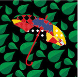 Lapwerkparaplu op naadloos bladpatroon Royalty-vrije Stock Afbeelding