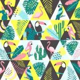 Lapwerkpatroon met tropische vogels Royalty-vrije Stock Foto