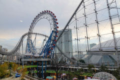 Laqua Tokyo dome city part in Tokyo, Japan. Roller coaster at Laqua Tokyo dome city part in Tokyo, Japan. Tokyo Dome City is an extensive entertainment city Stock Photo