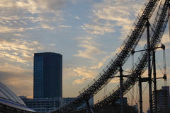 Laqua Tokyo dome city part in Tokyo, Japan. Roller Coaster at Laqua Tokyo dome city part in sunset in Tokyo, Japan Royalty Free Stock Photos