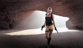 Lara. Croft saves the world again Stock Images