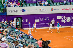 Lara Arruabarrena making her entrance at the QF of Bucharest Open WTA. The QF of Bucharest Open WTA, July the 11th, 2014, tennis match between Simona Halep and Stock Images