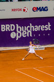 Lara Arruabarrena during the QF of Bucharest Open WTA. Lara Arruabarrena playing the QF of Bucharest Open WTA, July the 11th, 2014, tennis match between Simona Royalty Free Stock Photos