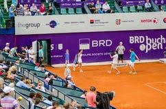 Lara Arruabarrena som gör hennes ingång på QFEN av Bucharest öppen WTA arkivbilder