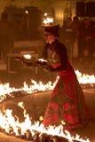 Lara Castiglioni ed esposizione del fuoco Fotografia Stock Libera da Diritti