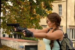 Lara Croft cosplayer at Lucca Comics and Games 2017. Closeup of a cosplayer dressed up as Tomb Raider`s Lara Croft character during the Lucca Comics and Games Royalty Free Stock Images