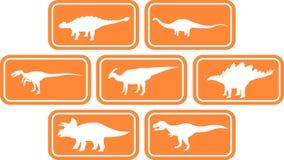 Laranja ajustada do emblema retangular do dinossauro Foto de Stock Royalty Free
