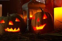 Laranja assustador Dia das Bruxas da abóbora Foto de Stock Royalty Free