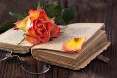 A laranja aumentou com livro velho e vidros imagens de stock