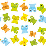Laranja azul ajustada do verde amarelo da rã engraçada bonito dos desenhos animados no fundo branco, teste padrão sem emenda Veto Fotos de Stock Royalty Free