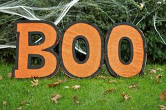 Laranja Boo Sign Background do outono do feriado de Dia das Bruxas imagens de stock