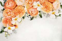 Laranja? branco e fundo do ramalhete das flores da rosa do abricó foto de stock royalty free
