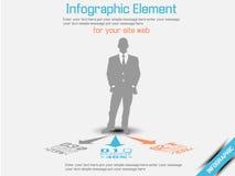 Laranja da opção três do infographich do homem de negócio Foto de Stock