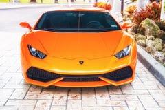 Laranja de Lamborghini Aventador do supercarro Foto de Stock Royalty Free