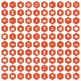 laranja do hexágono de 100 ícones do alimento natural Fotos de Stock
