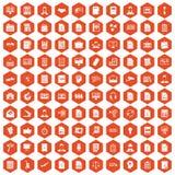 laranja do hexágono de 100 ícones do papel de trabalho Foto de Stock