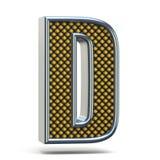 A laranja do metal de Chrome pontilhou a letra D 3D da fonte Foto de Stock