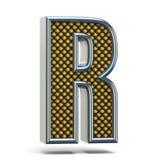 A laranja do metal de Chrome pontilhou a letra R 3D da fonte Foto de Stock