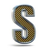 A laranja do metal de Chrome pontilhou a letra S 3D da fonte Imagem de Stock
