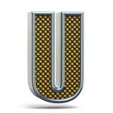 A laranja do metal de Chrome pontilhou a letra U 3D da fonte Foto de Stock