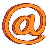 Laranja dos desenhos animados do vetor no símbolo Sinal do email imagem de stock royalty free