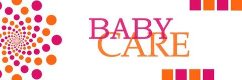 Laranja Dots Horizontal do rosa do cuidado do bebê Fotos de Stock Royalty Free