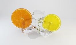 Laranja e limão congelados no cubo de gelo rendição 3d Imagens de Stock Royalty Free