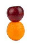 Laranja e maçã Fotografia de Stock