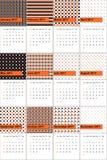 A laranja e o trovão coloriram o calendário geométrico 2016 dos testes padrões ilustração royalty free
