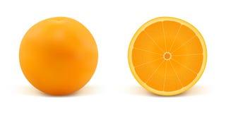 Laranja e parte da laranja Fotos de Stock