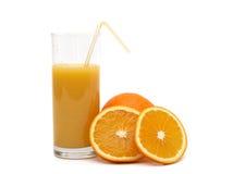 Laranja e sumo de laranja Fotos de Stock Royalty Free
