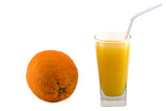 Laranja e sumo de laranja isolados Fotos de Stock