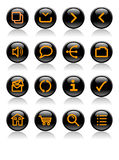 Laranja em ícones brilhantes pretos do Web Fotos de Stock Royalty Free