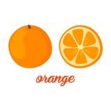 A laranja frutifica cartaz ao a descrição do estilo dos desenhos animados inteira e o meio de citrinos suculentos frescos no fund Foto de Stock Royalty Free