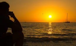 Laranja impressionante do por do sol do mar Foto de Stock