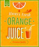 Laranja Juice Poster do vintage Imagens de Stock