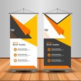 A laranja moderna rola acima a bandeira Anunciando o projeto do molde do vetor ilustração stock