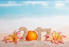 A laranja numera pelo contrário 0 em uma quantidade 2017, flores contra o mar Fotografia de Stock