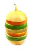 Laranja, pera e maçã na pirâmide fotos de stock