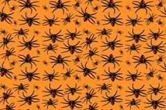 Laranja sem emenda do teste padrão da aranha de Dia das Bruxas Fotografia de Stock