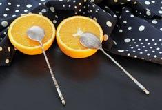 Laranja suculenta e polca Dot Napkin Imagem de Stock Royalty Free