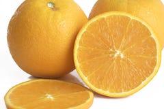 Laranjas amarelas frescas no branco Fotos de Stock
